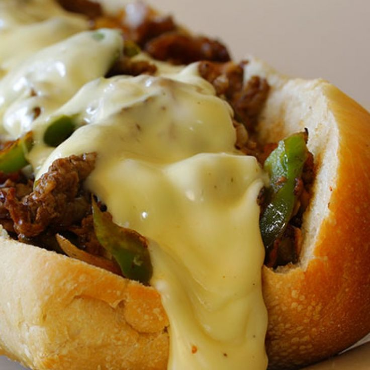 . Slow Cooker Philly Cheese Steak Sandwich Recipe from Grandmothers Kitchen.