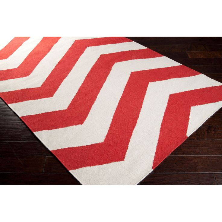 Cruces Flatweave Chevron Area Rug 3 6 X 5 Red