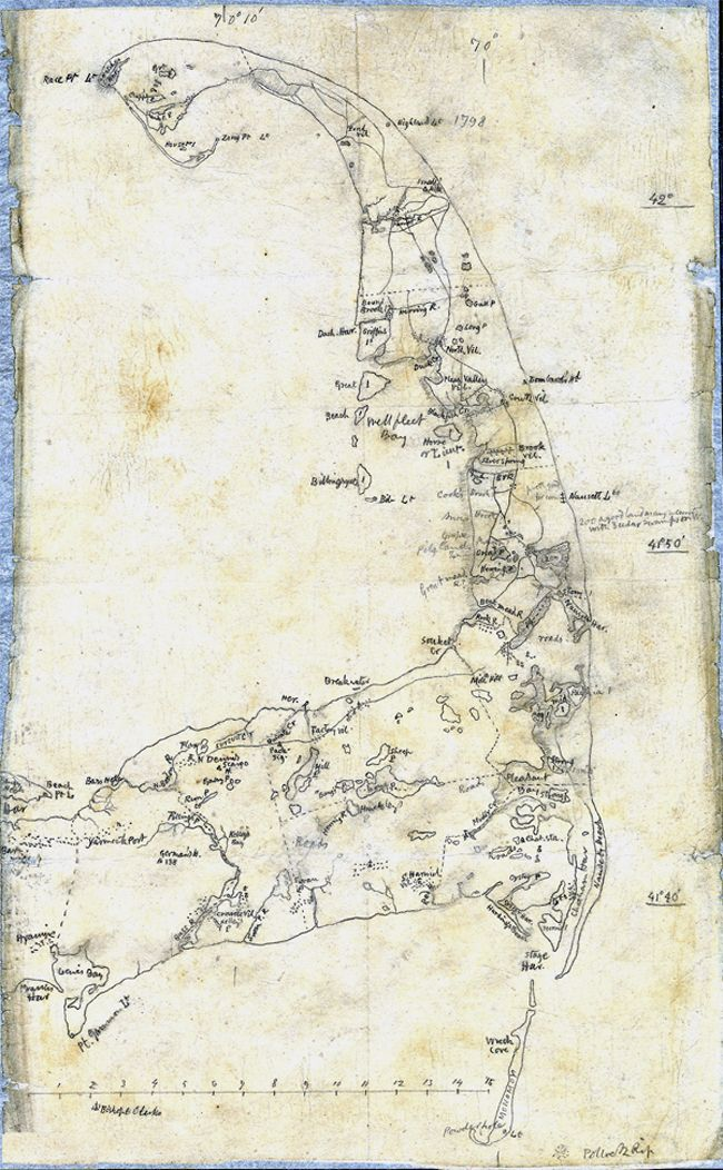 Hand drawn map of Cape Cod by Henry David Thoreau.   More of Thoreau's maps and land surveys can be found here: http://www.mappingthoreaucountry.org/maps/ Maps on the Web: Photo