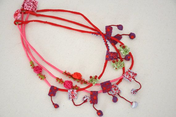 Eco Friendly Hand Sewn Fabric Necklace Pink Red by stellacreations, $34.00