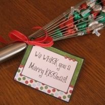 "Whisks with Hershey kisses in them. The tags say ""We 'whisk' you a merry Christmas!""..These are for the kids, family and teachers."