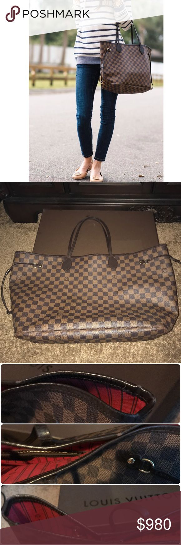 Authentic LV Damier Ebene Neverfull GM Canvas Tote Authentic LV NEVERFULL GM Tote  Beautiful used condition! Pictures show wear.   Purchased at LV Neiman Marcus Galleria Houston, TX 15.7 x 13.0 x 7.9 inches (L x H x W)   Poshmark will authenticate this bag at no charge to you. - Date code photo picture attached  - NO receipt - Does NOT include pouch - Will come with dust bag - Will come with LV box  - Interior with Louis Vuitton archive details - Textile-lined inside pocket - Natural cowhide…