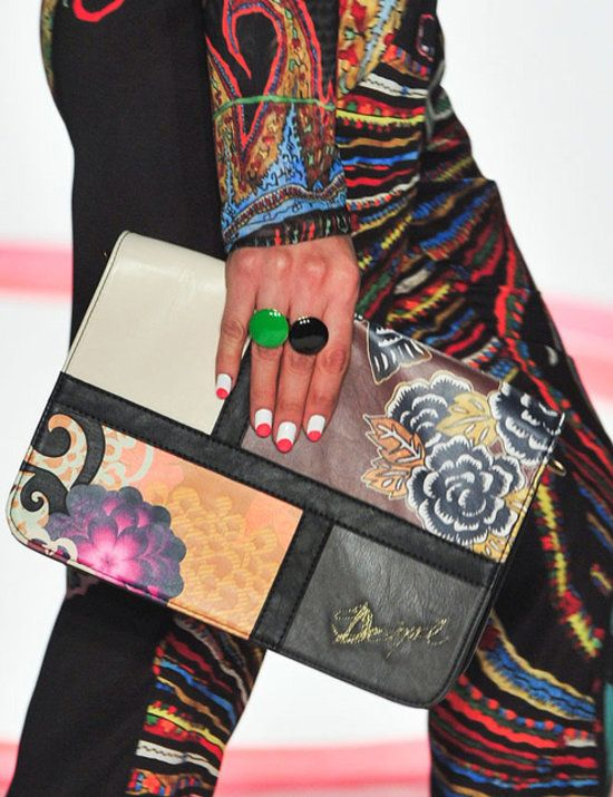 Desigual Spring 2014 Nails by: Keri Blair for MAC Cosmetics Products used:: Circle-tipped nails featuring Steamy, Fiestaware, and Impassioned Nail Lacquers, individually chosen to enhance models' hands.