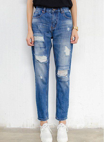 Trendy High-Waisted Broken Hole Pocket Design Jeans For Women