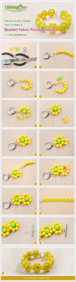 Spring Jewelry Design-How to Make a Beaded Yellow Flower Bracelet by wanting