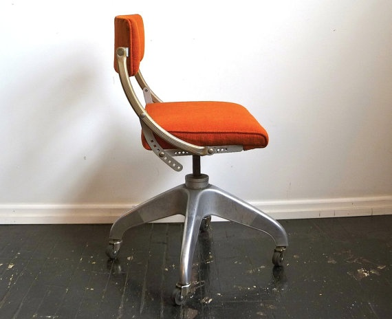 Vintage Industrial Orange fice Chair DoMore by cushionchicago