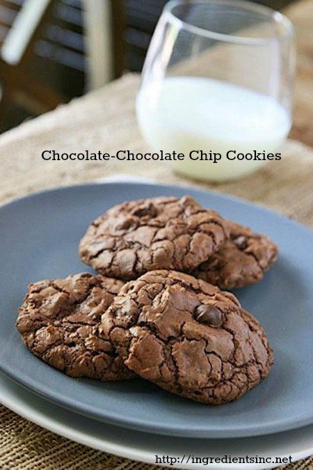 Chocolate-Chocolate Chip Cookies @Alison LewisChocolatey Cookies, Chocolate Chips, Chocolates Chips Cookies, Alison Hobbes, Chocolates Cookies, Cookies Recipe, Chocolatechocol Chips, Chocolate Chip Cookies, Chocolate Chocolates Chips