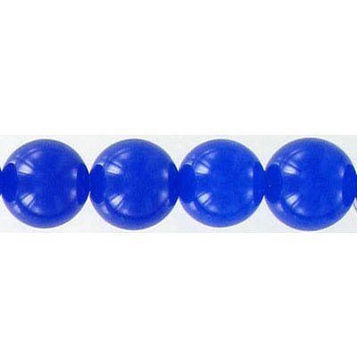 Semi-precious round beads, 10mm, blue new jade, 16 inch strand
