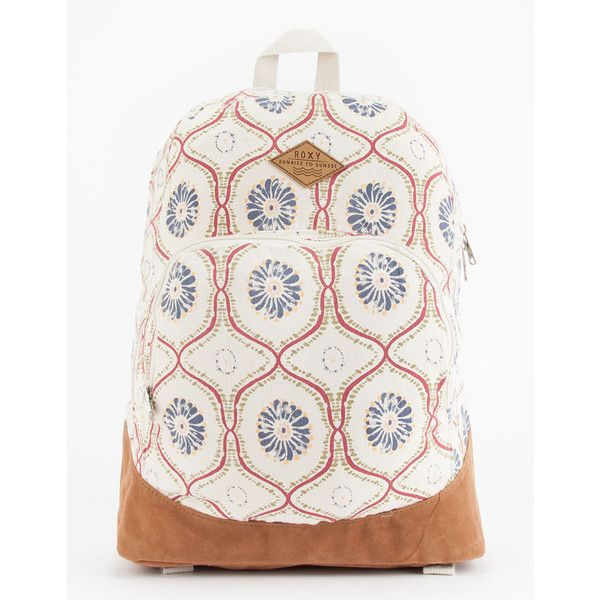 Roxy Pharoah Backpack ($40) ❤ liked on Polyvore featuring bags, backpacks, pocket bag, backpack bags, flower print backpack, floral print backpack and white backpack