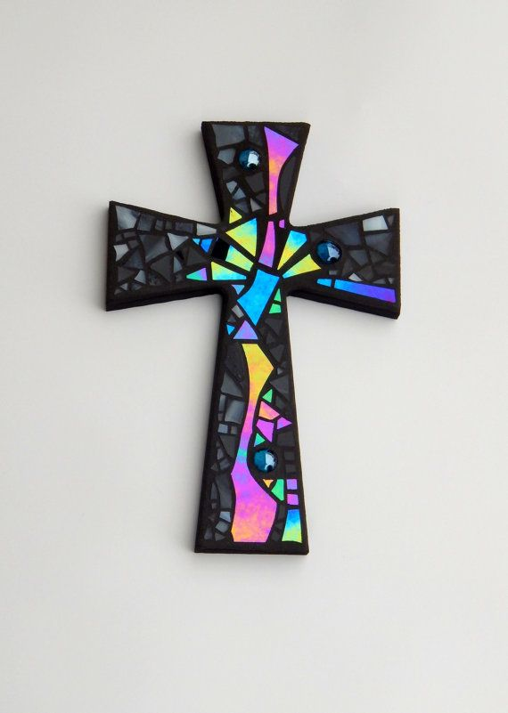 "Mosaic Wall Cross, Abstract Modern Art, Black with Iridescent Stained Glass, Handmade Mosaic Design, 12"" x 8"" by GreenBananaMosaicCo"