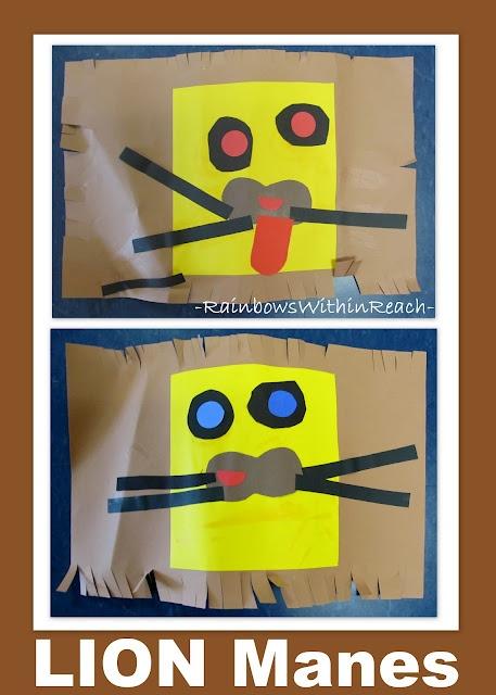 Lion Art project for children, jungle theme art for preschool, zoo project idea