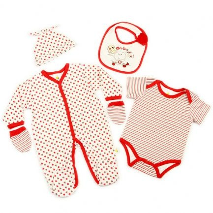 Funky and fun 5 piece layette new born baby wear set. Set includes baby grow, a body suit, bib, hat and mitts. Fab funky apple design bib, body suit and cute little hat. Striped baby grow and tiny mitts. Lovely little set. Ages: birth, 0-3 months and 3-6 months.
