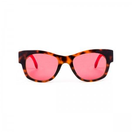 Hamilton Burger sunglasses with a fluoline havana orange frame. Mirror red lenses.