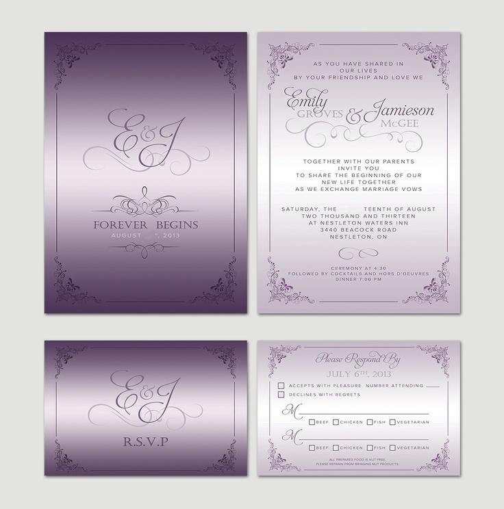 Purple And Silver Wedding Invitations: Wedding Invitations Purple Silver