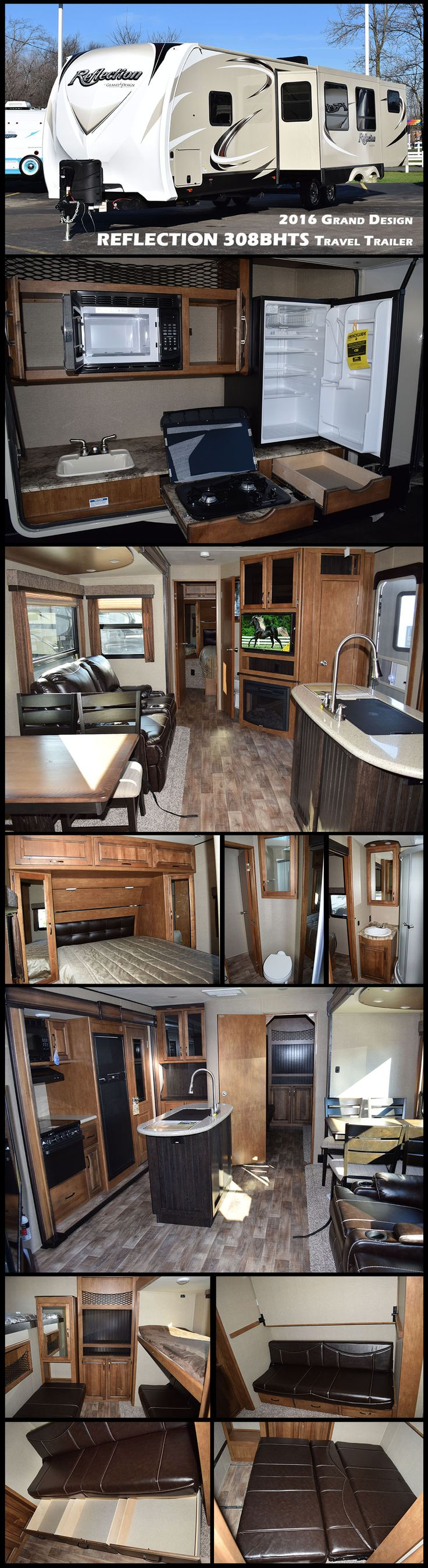 This 2016 Grand Design REFLECTION 308BHTS travel trailer is a great family  camper with triple slides