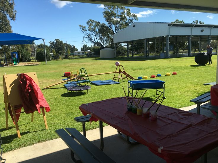 Obstacle course and painting. Inspiring outdoor play space
