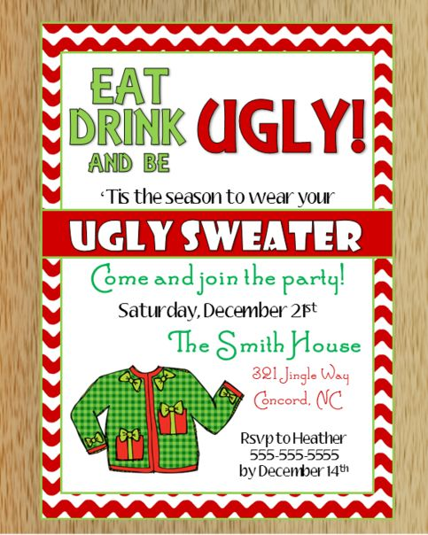 Ugly Christmas Sweater Invitation 2 Christmas Pinterest