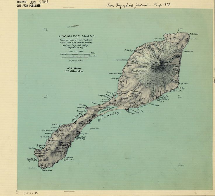 Map of Jan Mayen by the Royal Geographic Society (1939)