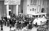 Appeal for second liberty loan, with American band playing outside the Prahran Town Hall, ca. 1942.