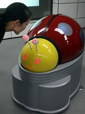 autonomous ladybug-shaped robot designed to clean public restrooms at highway rest areas.