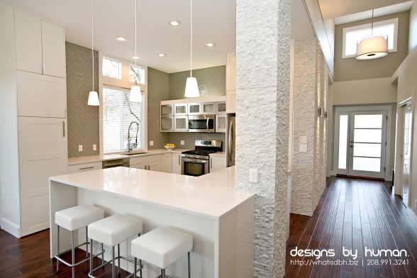 Open concept kitchen. Converted &#;s style home. Love the white painted stone. Kitchen Inspiration Pinterest Style, s Style and Stones