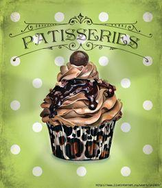laminas decoupage cocina cup cakes - Buscar con Google