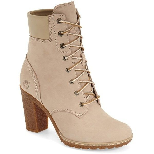 "Timberland Earthkeepers 'Glancy' Boot, 3 1/4"" heel (£60) ❤ liked on Polyvore featuring shoes, boots, ankle booties, heeled boots, ankle boots, cornstalk suede, lace up bootie, high heel booties, lace up booties and faux leather booties"