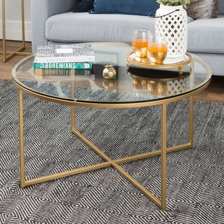 Silver Orchid Helbling 36-inch Round Coffee Table, Gold Metal X-base, for Living Room – 36 x 36 x 19H