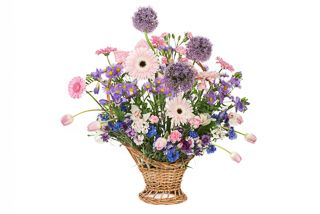 Country flowers basket: pink, lilac, blue flowers by Atelier Floristic Aleksandra concept Alexandra Crisan
