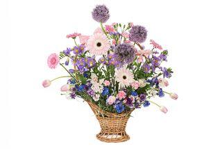 Country flowers basket: pink, lilac, blue flowers by Atelier Floristic Aleksandra concept Alexandra Crisan