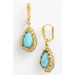 Alexis Bittar 'Elements - Floral' Teardrop Earrings Gold/ Turquoise