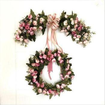 Kapı Çelengi Lintel Çiçek Yapay Çelenk Simülasyon Gül Çelenk Kapı Trimi Garishness Düğün Noel Doğum Günü Parti Dekoru