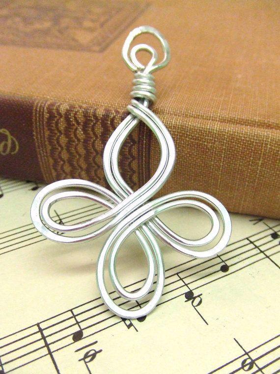 nice Celtic Pendant Filigree Pendant with Cord Aluminum Pendant Wire Wrap Pendant Ham...