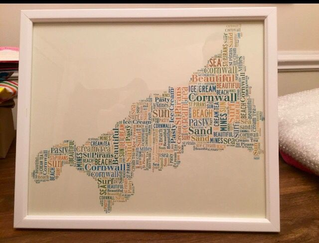 Cornwall word art print. More designs on our Facebook page.