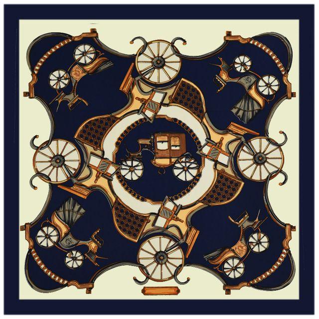 100%シルクスカーフ女性のスカーフユーロブランド王室馬車シルクラップスカーフ正方形シルクスカーフホット女性バンダナレディギフト