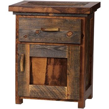 The Rustic Wyoming Single Drawer Enclosed Nightstand is perfect for a western style cabin or lodge bedroom. This unique rustic nightstand is constructed of reclaimed weathered wood fused with harvested western hardwoods and features a single dovetail drawer and lower cabinet. Made in USA.