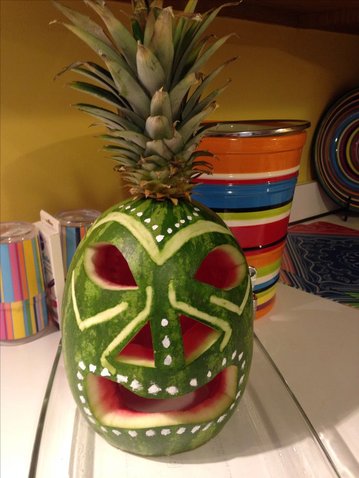 DIY.  Party. Luau Party.  Fruit Tray Display.  Pineapple Tree.  Fruit Monkey.  Tiki Watermelon Carving.