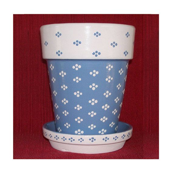 French Blue and White Flower Pot Hand Painted by DesignsByDesa, $16.00