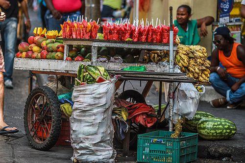 Fruit Vendor Fruit vendor in the streets of the historical center of Cartagena de Indias, Colombia.