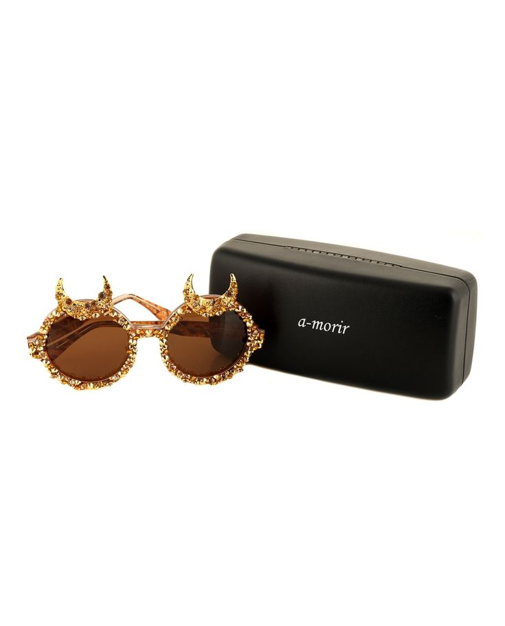 A-MORIR HAGEN GOLD SUNGLASSES Sunglasses round frame  with moon-shaped horns hand carved acetate frame UV400 premium Italian lens hand applied Swarovski stones and crystals  hand-made moons in 18k gold hand made