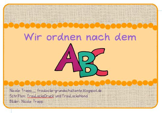 Wir beginnen bald mit dem ABC und brauchen dann viel Material zum Üben. Bei wegerer.at gibt es eine Kartei von Martina Müller, die super is...