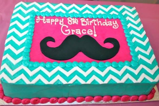 Chevron teal and pink mustache cake!