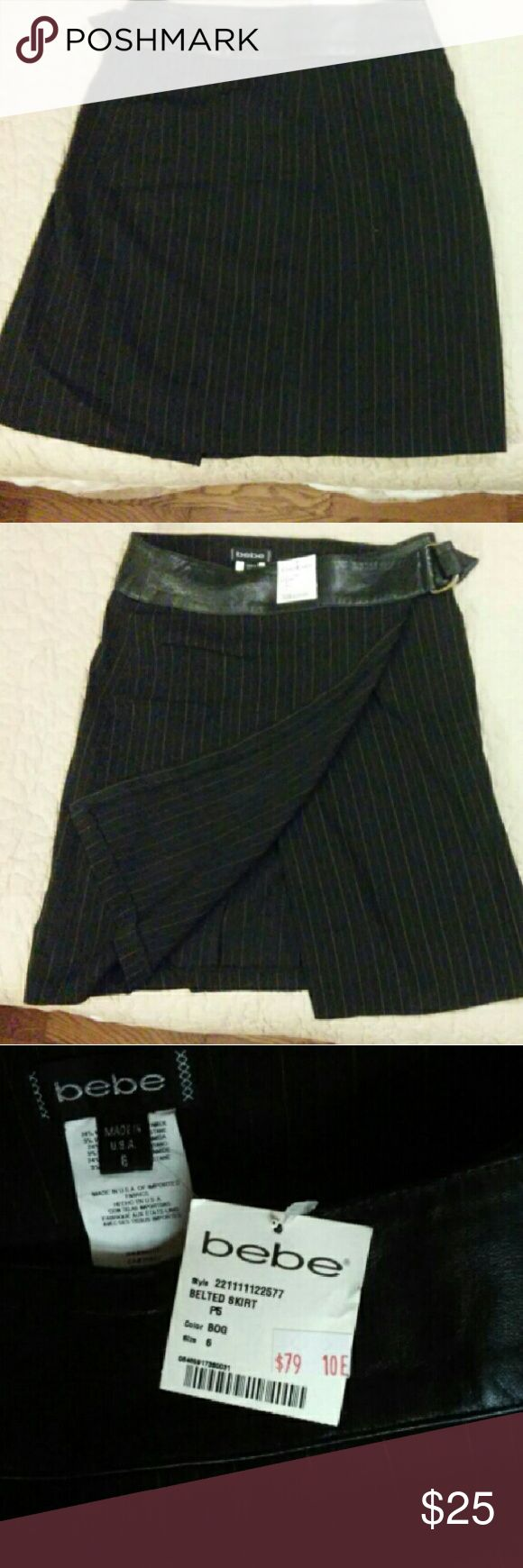 NWT BeBe Belted Skirt Brand new professional skirt. Faux leather belt . bebe Skirts Pencil