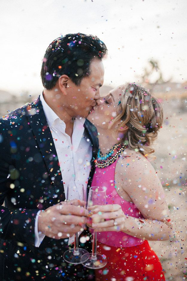 This confetti-fied engagement photo. | 26 Beautiful Wedding Ideas To Fall In Love With Right Now