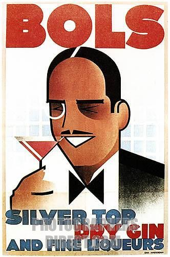 Bols Gin , splendid Art Deco 1934 poster for the Dutch Silver Top gin and Fine Liqueurs celebrating the cocktail culture stock photo