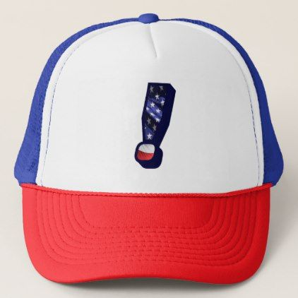 American Flag Exclamation Mark USA Trucker Hat - monogram gifts unique custom diy personalize