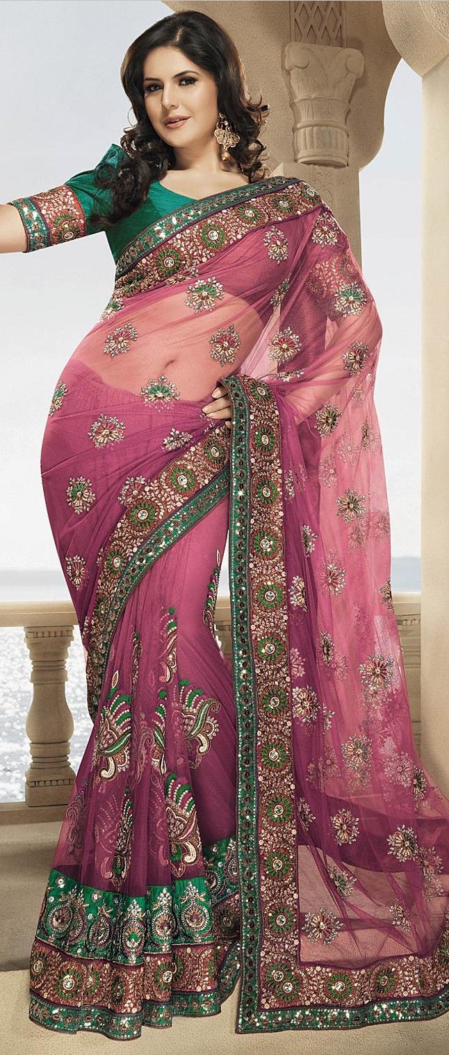#Pink Net #Saree with Blouse @ $260.78   Shop @ http://www.utsavfashion.com/store/sarees-large.aspx?icode=ssl1765