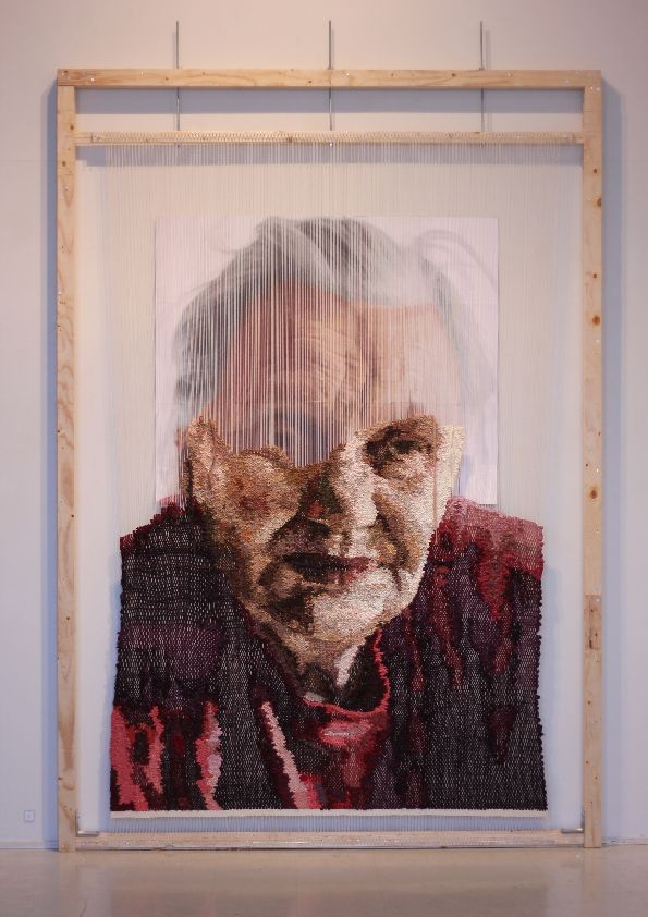 """Hillevi"" by Sanni Weckman Handwoven tapestry from recycled weft to cotton warp 215cm x 300cm 2016"