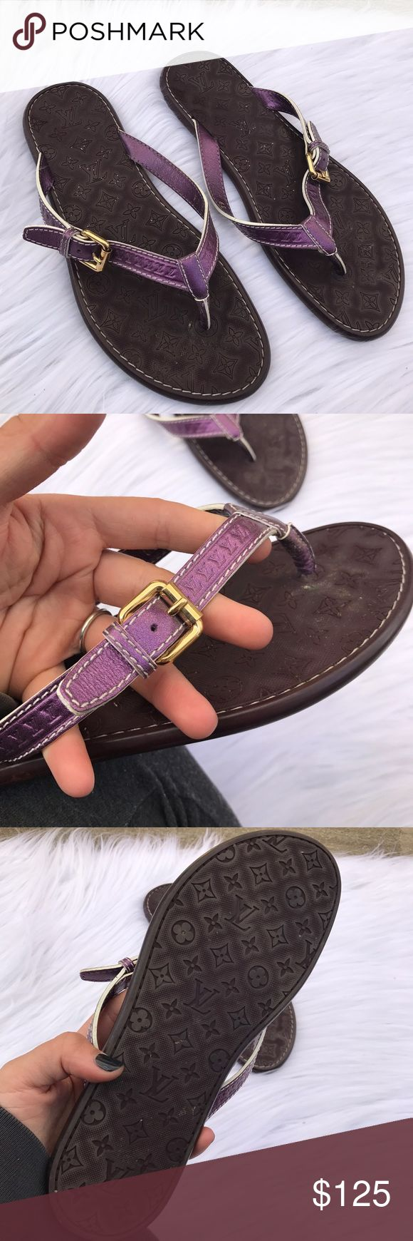 LOUIS VUITTON SZ 9 LEATHER PURPLE SANDALS SHOES 100% authentic Louis Vuitton sandals , have a bunch of little white things that can be removed they're list lint , have only been worn a couple of times, have lv embellished everywhere :) super cute for summer Louis Vuitton Shoes