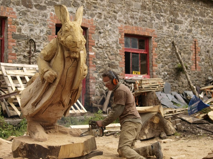 Rabbit chainsaw carving pinterest